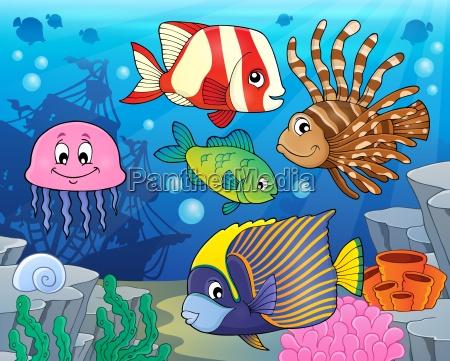 coral reef fish theme image 2