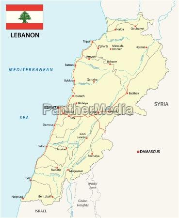 libanon strassenkarte mit flagge