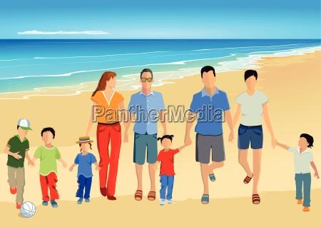 eltern mit kinder am strand