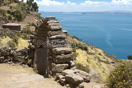 view toward lake titicaca from taquile