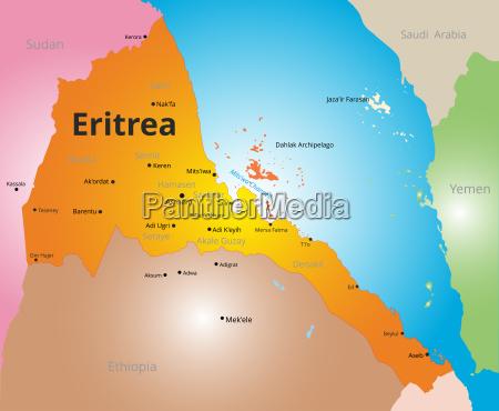 vector color map of eritrea