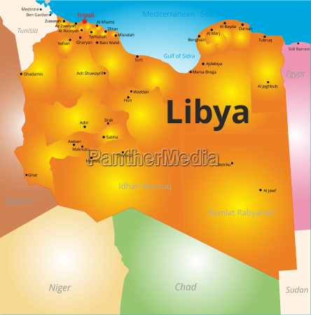 color map of libya country