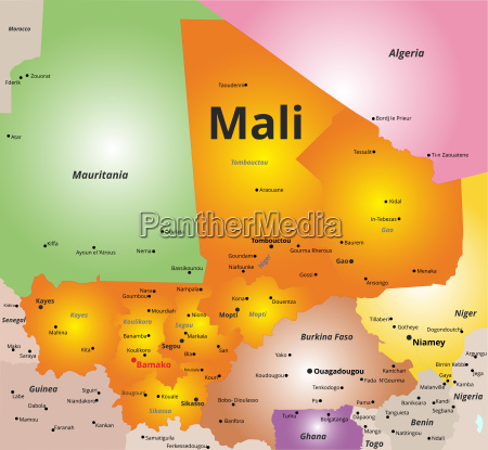 color map of mali country