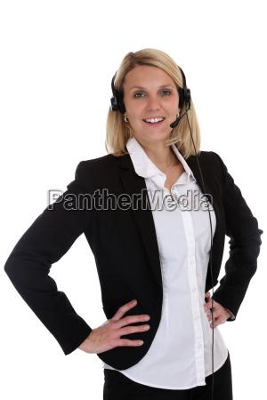 frau mit headset telefon call center