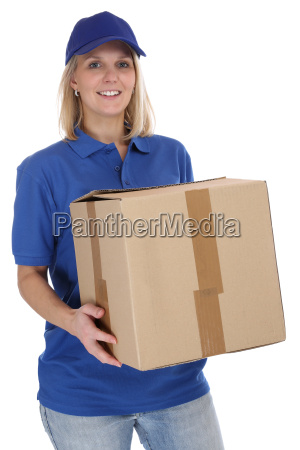 paket versand postbote frau post lieferung