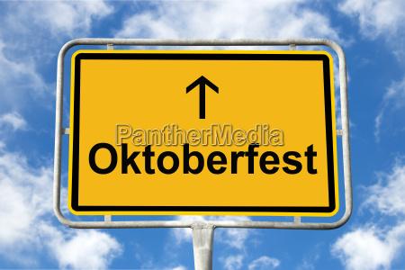 yellow signpost oktoberfest munich germany