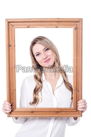 pretty woman posing behind
