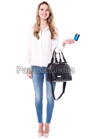 shopaholic woman holding atm card