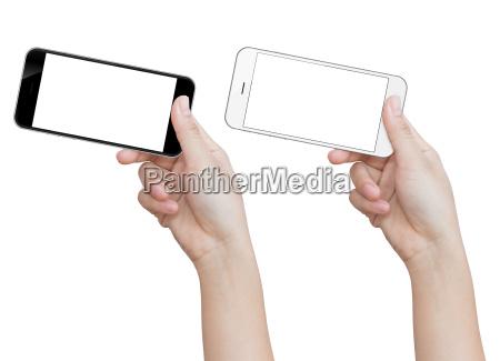 hand, hält, telefon, auf, weißem, clipping-pfad - 16565278