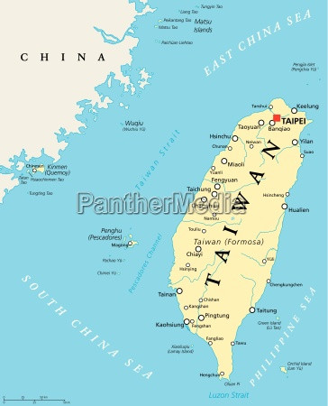 taiwan republic of china political map