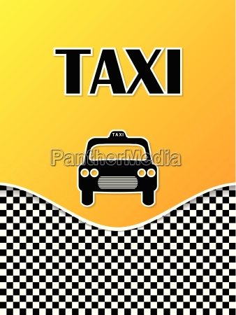 taxi brochure design with cab silhouette
