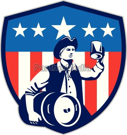 american patriot beer keg flag crest