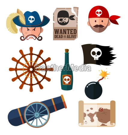 pirate flat icon collection
