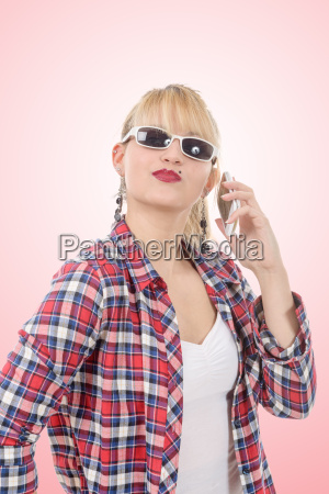 attractive young woman in checkered shirt