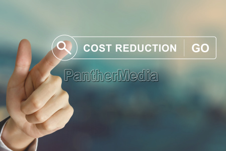 business hand clicking cost reduction button