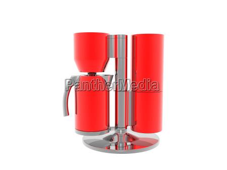 kaffeemaschine in rot freigestellt