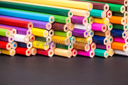 pencil pile closeup with black copy