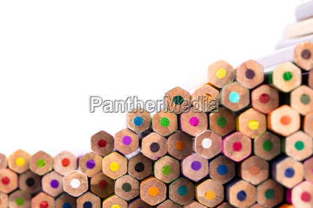 close up of pencil pile with