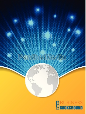 hexagon pattern business brochure with globe