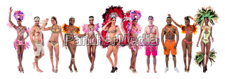 carnival group people isolated vector set