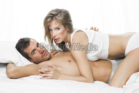 sexy couple in white underwear having