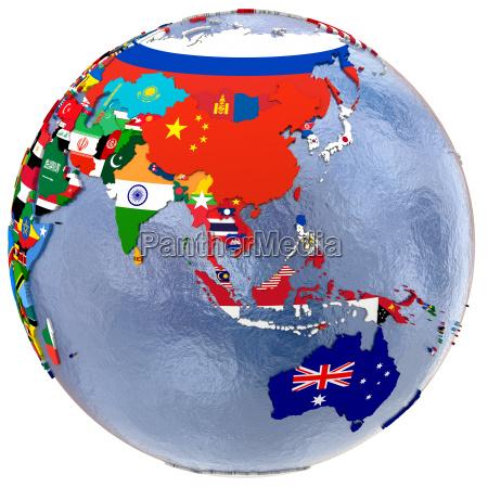 politische asien und australien karte