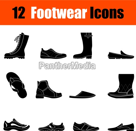 set of mans footwear icons