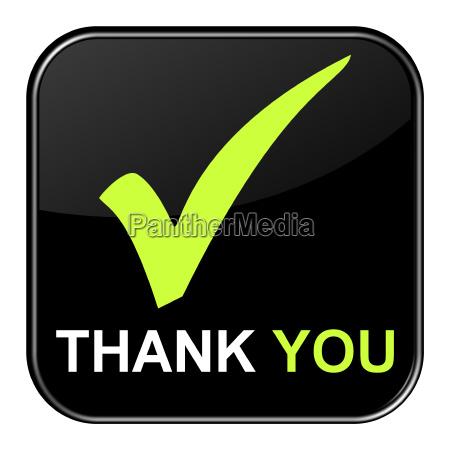 schwarzer button zeigt thank you