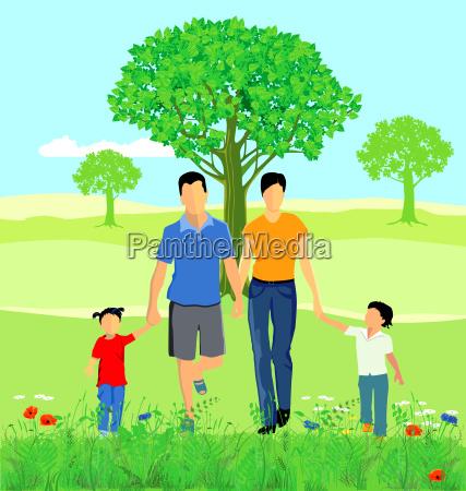eine familie in der natur