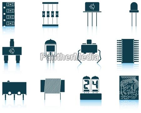 conjunto de iconos de componentes electronicos