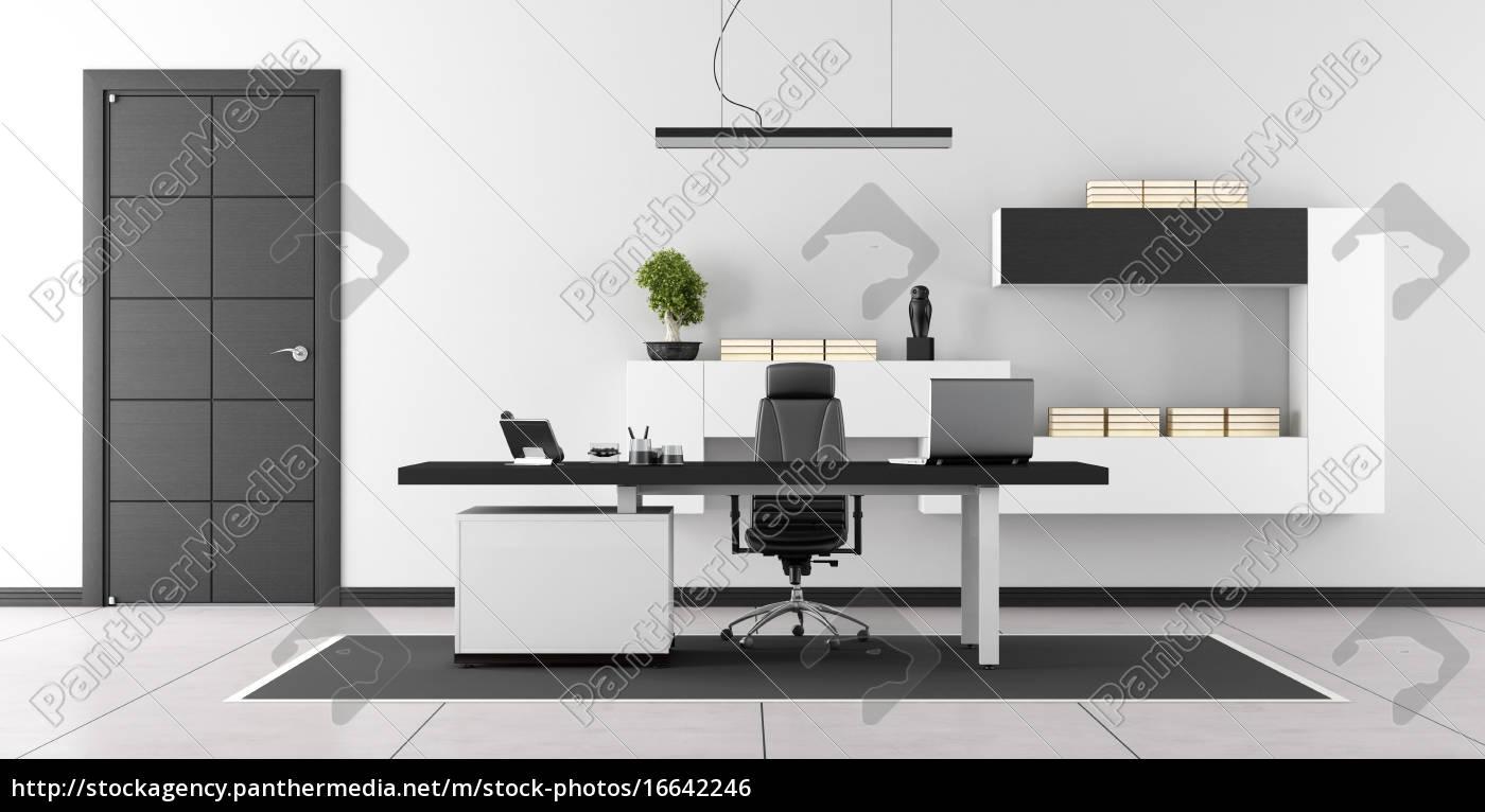 Schwarz-weiß-modernes Büro