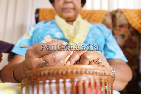 senior woman in old people home