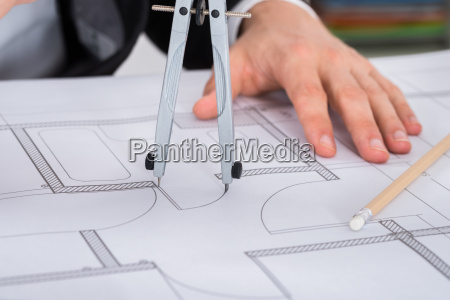 close up of architect hands holding