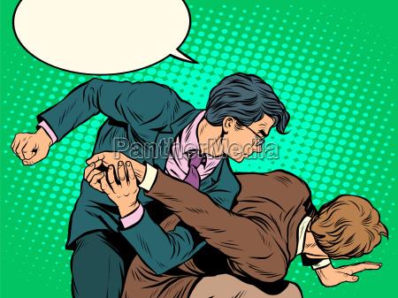 men businessmen fighting