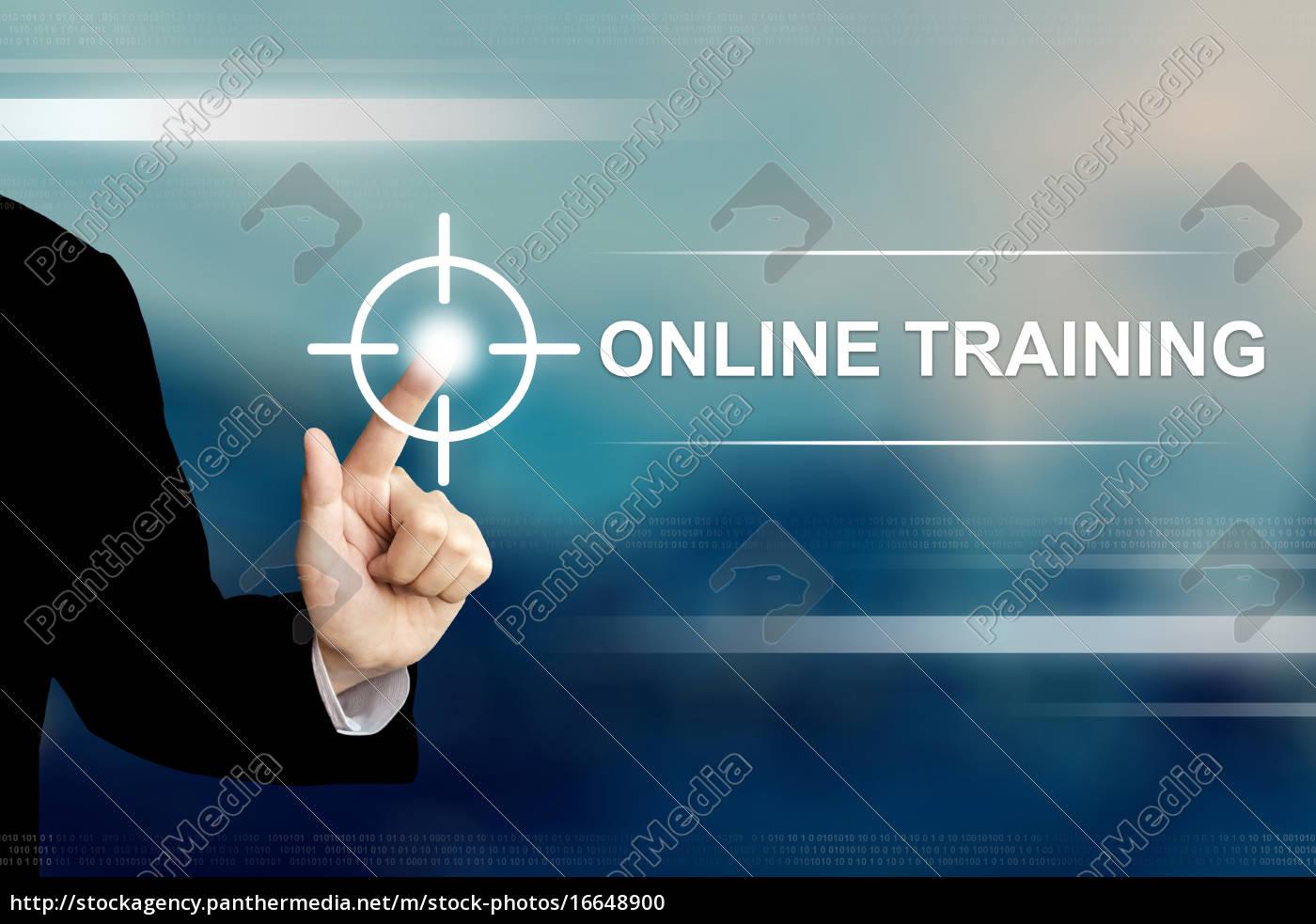 business-hand, klicken, online-trainingstaste, auf, touchscreen - 16648900