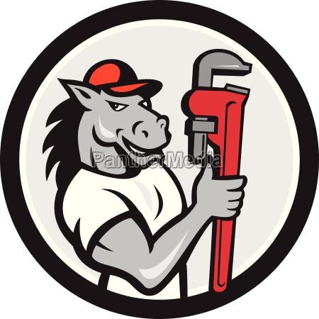 horse plumber monkey wrench circle cartoon