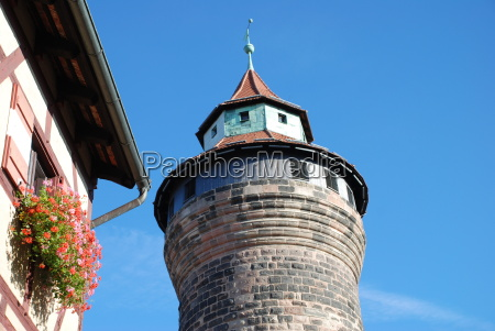 nürnberg, nürnberger, burg, kaiserburg, wehrgang, sinwellturm - 16665392