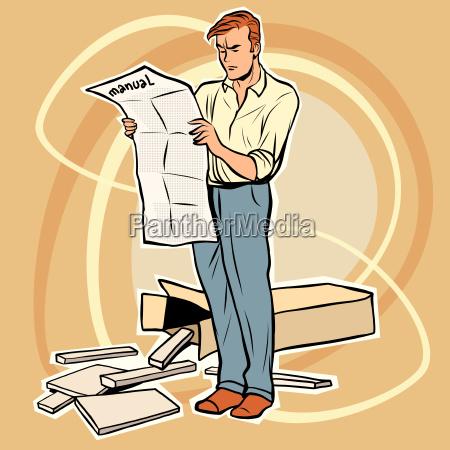 mann manuelle montage von moebeln