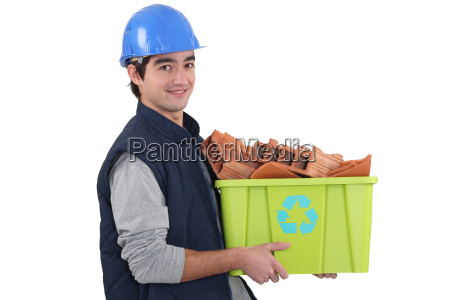 young builder recycling