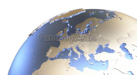 europa auf der metallischen erde