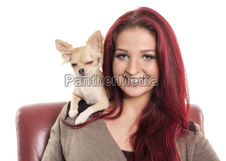pretty red haired woman with small