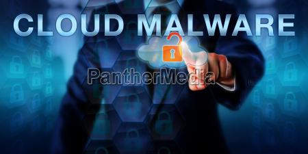 enterprise executive pointing at cloud malware