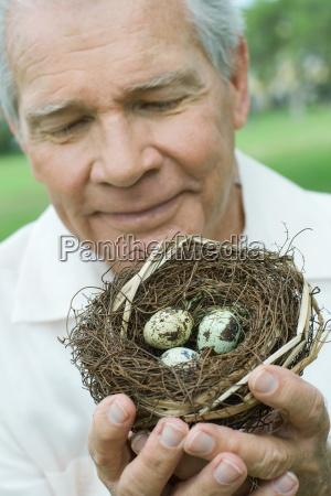 senior man holding birds nest close
