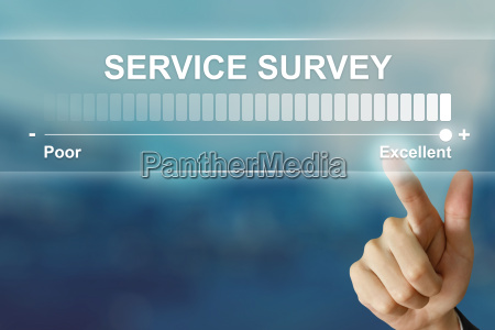 business hand clicking excellent service survey