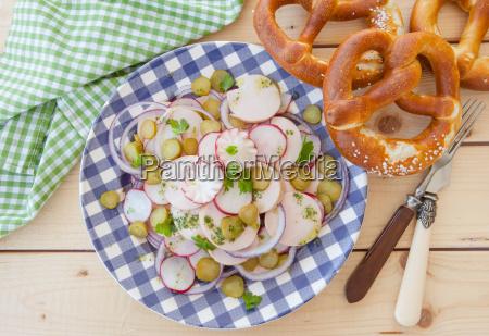 bavarian sausage salad with fresh pretzels