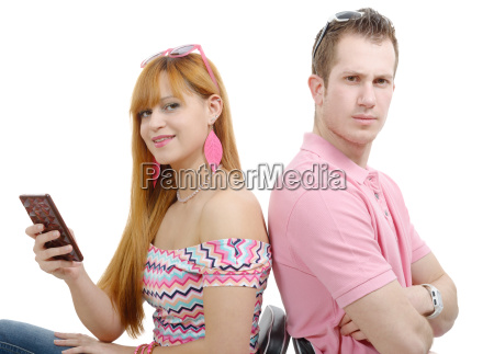 young couple with problems woman phone