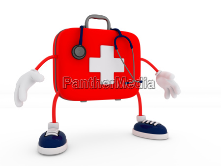 stethoscope and first aid kit character