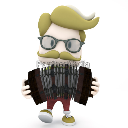hipster man playing accordion