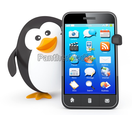 penguin with smartphone