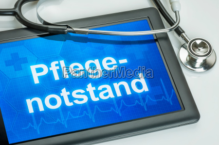 tablet with the word care score